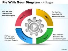Business Framework Model Pie With Gear Diagram 4 Stages Marketing Diagram