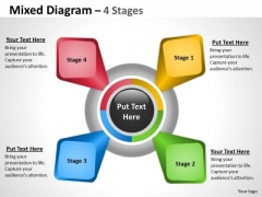 Business Framework Model Sales Mixed Diagram With 4 Stages Sales Diagram