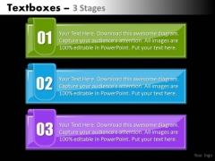 Business Framework Model Textboxes Colorful 3 Steps Sales Diagram
