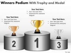 Business Framework Model Winners Podium With Trophy And Medal Sales Diagram