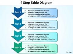 Business PowerPoint Templates 4 Step Table Diagram Editable Sales Ppt Slides