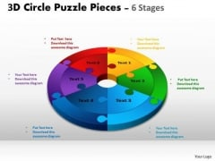 Consulting Diagram 3d Circle Puzzle Diagram 6 Stages Slide Strategy Diagram