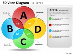 Consulting Diagram 3d Venn Diagram 4 Pieces Strategy Diagram