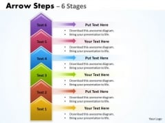Consulting Diagram Arrow Steps 6 Stages Colorful Strategy Diagram