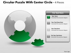 Consulting Diagram Circular Puzzle With Center Circle 4 Pieces Strategy Diagram