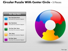 Consulting Diagram Circular Puzzle With Center Circle 5 Pieces Sales Diagram