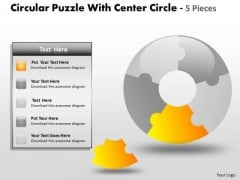 Consulting Diagram Circular Puzzle With Center Circle 5 Pieces Strategy Diagram