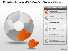 Consulting Diagram Circular Puzzle With Center Circle 6 Pieces Sales Diagram