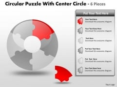 Consulting Diagram Circular Puzzle With Center Circle 6 Pieces Strategic Management