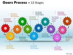 Consulting Diagram Gears Process 12 Stages Business Finance Strategy Development