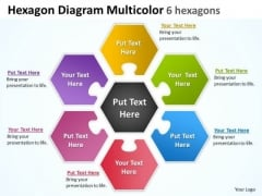 Consulting Diagram Hexagon Diagram Multicolor 6 Hexagons Sales Diagram