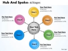 Consulting Diagram Hub And Spoke 6 Stages Business Framework Model