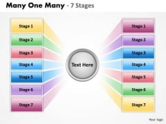 Consulting Diagram Many One Many 7 Stages Business Diagram