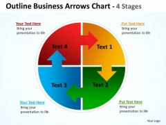Consulting Diagram Outline Business Arrows Chart 4 Stages Business Framework Model
