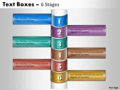 Consulting Diagram Text Boxes 6 Stages Strategy Diagram