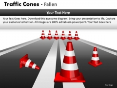 Consulting Diagram Traffic Cones Fallen Business Diagram