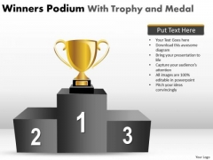 Consulting Diagram Winners Podium With Trophy And Medal Strategic Management