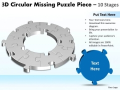 Marketing Diagram 3d Circular Missing Puzzle Piece 10 Stages Business Framework Model