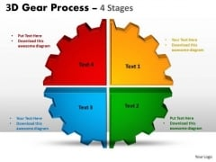 Marketing Diagram 3d Gear Process 4 Stages Style Sales Diagram
