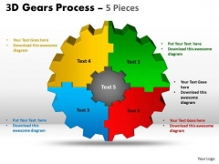 Marketing Diagram 3d Gear Process 5 Pieces Sales Diagram
