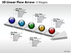 Marketing Diagram 3d Linear Flow Arrow 5 Stages Business Framework Model
