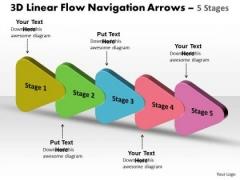 Marketing Diagram 3d Linear Flow Navigation Arrow 5 Stages Business Framework Model
