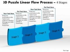 Marketing Diagram 3d Puzzle Linear Flow Process 4 Stages Marketing Diagram