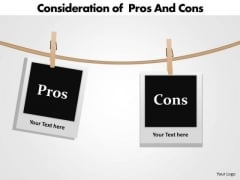 Marketing Diagram Consideration Of Pros And Cons Sales Diagram