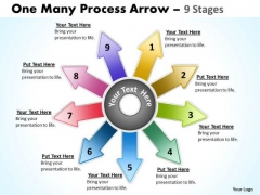 Marketing Diagram One Many Process Arrow 9 Stages Strategic Management