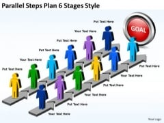 Marketing Diagram Parallel Steps Plan 6 Stages Style Business Diagram