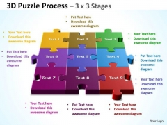 Marketing Diagram Strategy Diagram 3d Puzzle Process 3 X 3 Stages Mba Models And Frameworks