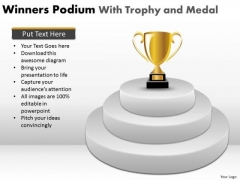 Marketing Diagram Winners Podium With Trophy And Medal Business Framework Model