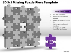 Mba Models And Frameworks 3d 5x5 Missing Puzzle Piece Business Diagram