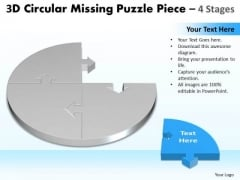 Mba Models And Frameworks 3d Circular Missing Puzzle Piece 4 Stages Marketing Diagram