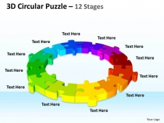 Mba Models And Frameworks 3d Circular Puzzle 12 Stages Sales Diagram