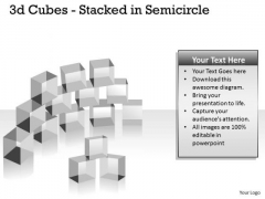 Mba Models And Frameworks 3d Cubes Stacked In Semicircle Business Diagram