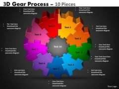 Mba Models And Frameworks 3d Gear Process 10 Pieces Business Diagram