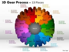 Mba Models And Frameworks 3d Gear Process 13 Pieces Business Cycle Diagram