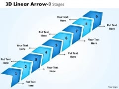 Mba Models And Frameworks 3d Linear Arrow 9 Stages Strategy Diagram