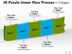 Mba Models And Frameworks 3d Puzzle Linear Flow Process 5 Stages Business Diagram
