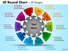 Mba Models And Frameworks 3d Round Chart 10 Stages Consulting Diagram