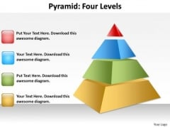 Mba Models And Frameworks 4 Level Pyramid With 3d Design Business Diagram