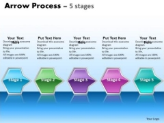 Mba Models And Frameworks Arrow Process 5 Stages Business Diagram