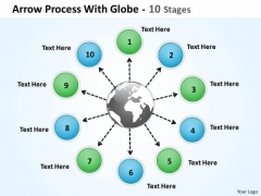 Mba Models And Frameworks Arrow Process With Globe 10 Stages Business Diagram