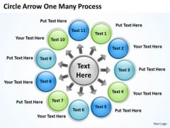 Mba Models And Frameworks Circle Arrow One Many Process Business Diagram