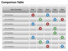 Mba Models And Frameworks Comparison Table Of Business Data Business Diagram