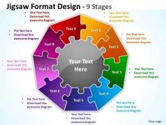 Mba Models And Frameworks Jigsaw Format Diagram Design 9 Stages Business Diagram