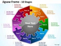 Mba Models And Frameworks Jigsaw Frame 10 Diagram Stages Business Framework Model