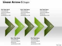 Mba Models And Frameworks Linear Arrow 5 Stages Business Diagram