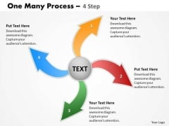 Mba Models And Frameworks One Many Process 4 Step Strategy Diagram